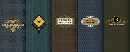 golden border: Elegant set of design elements, labels, icon, frames, seamless backgrounds for packaging. Illustration