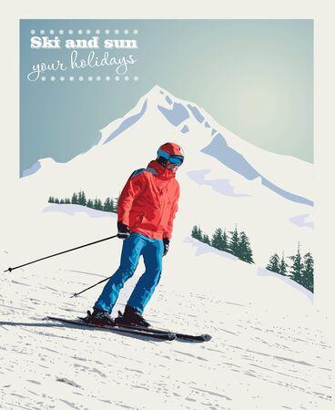 Wektorowy zima plakat, tło. Zaawansowany narciarz zsuwa się z góry