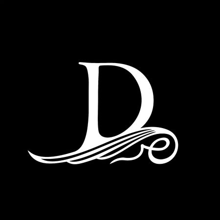 capitals: Capital Letter D for Monograms, Emblems and Logos. Beautiful Filigree Font. Is at Conceptual wing or waves. Illustration