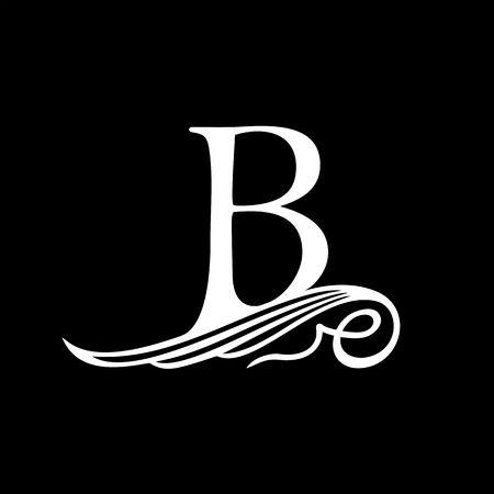 Lettre majuscule B pour monogrammes, Emblèmes et Logos. Belle Filigrane police. Est-ce à aile ou vagues conceptuel. Logo