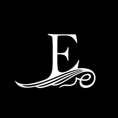 initial: Capital Letter E for Monograms, Emblems and Logos. Beautiful Filigree Font. Is at Conceptual wing or waves.