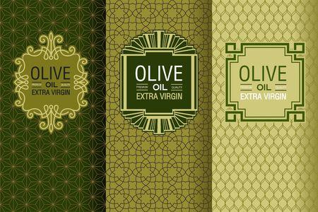 olive oil bottle: Elegant set of design elements, labels, icon, frames, seamless backgrounds for packaging olive oil emblems and bottles.