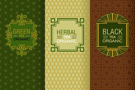 Elegant set of design elements, labels, icon, frames, seamless backgrounds for packaging in trendy linear style for for black, herbal and green tea