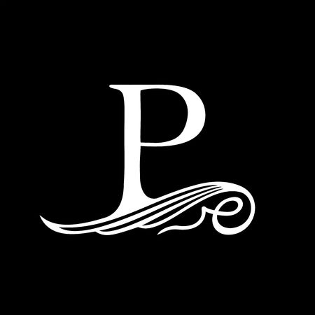 initial: Capital Letter P for Monograms, Emblems and Logos. Beautiful Filigree Font. Is at Conceptual wing or waves.