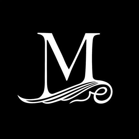 renaissance: Capital Letter M for Monograms, Emblems and Logos. Beautiful Filigree Font. Is at Conceptual wing or waves.