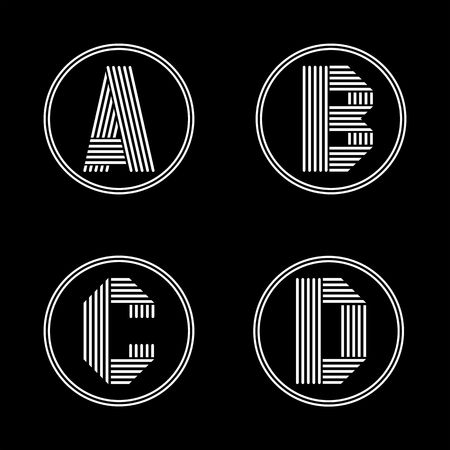letras negras: Capital letters A, B, C, D. From white stripe in a black circle. Overlapping with shadows. Logo, monogram, emblem trendy design.