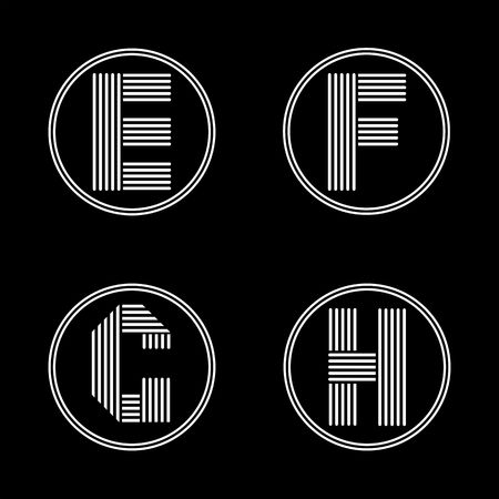 black shadows: Capital letters E, F, G, H. From white stripe in a black circle. Overlapping with shadows. Logo, monogram, emblem trendy design.