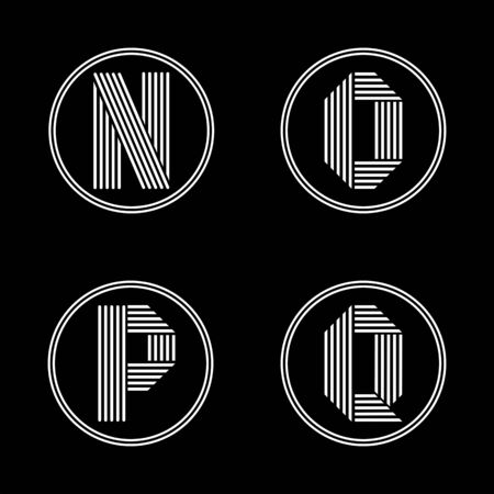 black shadows: Capital letters N, O, P, Q . From white stripe in a black circle. Overlapping with shadows. Logo, monogram, emblem trendy design.
