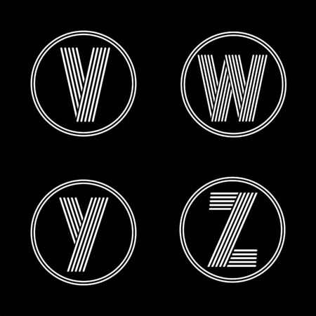 black shadows: Capital letters V, W, Y, Z . From white stripe in a black circle. Overlapping with shadows. Logo, monogram, emblem trendy design. Illustration