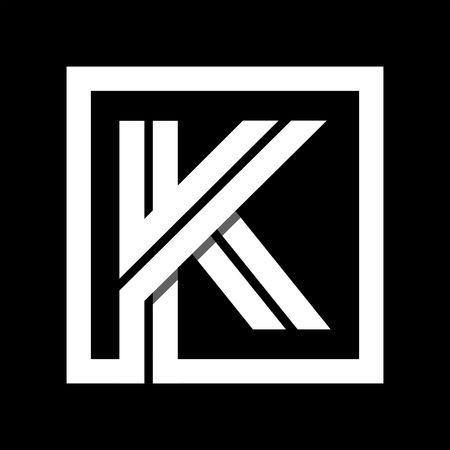 Capital letter K From white stripe enclosed in a square . Overlapping with shadows monogram, logo, emblem. Trendy design. Illustration