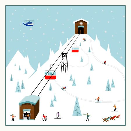 ski resort: Cool pastel Cartoon ski poster. The mountain resort with ski lifts, slopes, skiers.