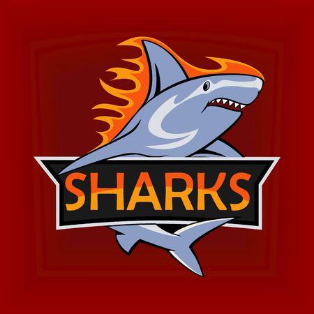 El Logotipo Del Deporte Con El Tiburón En El Fondo De La Vendimia ... d627a6e0d340e