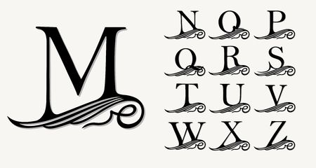 artdeco: Vintage Set 2. Calligraphic capital letters with curls for Monograms, Emblems and Logos. Beautiful Filigree Font. Is at Conceptual wing or waves . Baroque style