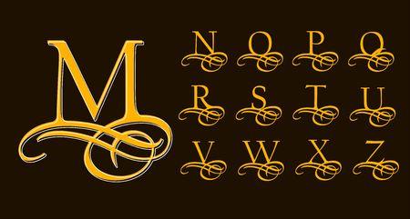 Vintage Set 2. lettres majuscules calligraphiques avec des boucles pour monogrammes et Logos. Belles éléments Filigrane Font de la calligraphie arabe