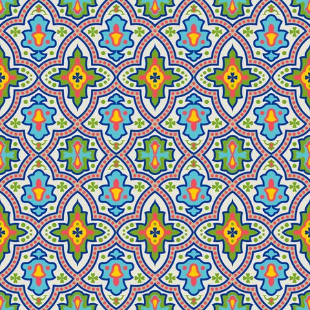 flower patterns: Vector seamless pattern. Colorful ethnic ornament. Arabesque style. Islamic art.