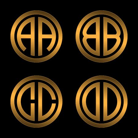 inscribed: Set 1 of templates from two capital Golden letters on a black background A, B, C, D inscribed in a oval. To create logos, emblems, monograms.