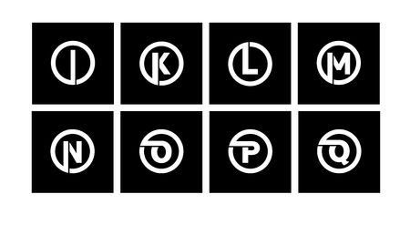 Set 2 of templates, capital letters inscribed in a circle of wide white bands with an overlay of shadows. To create emblems, monograms, logos. Ilustração