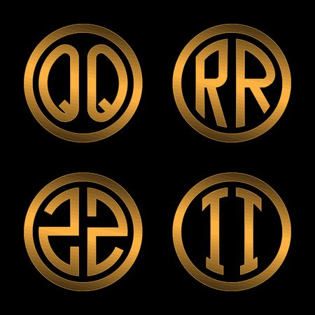 inscribed: Set 1 of templates from two capital Golden letters on a black background Q, R, S, T inscribed in a oval. To create logos, emblems, monograms. Illustration