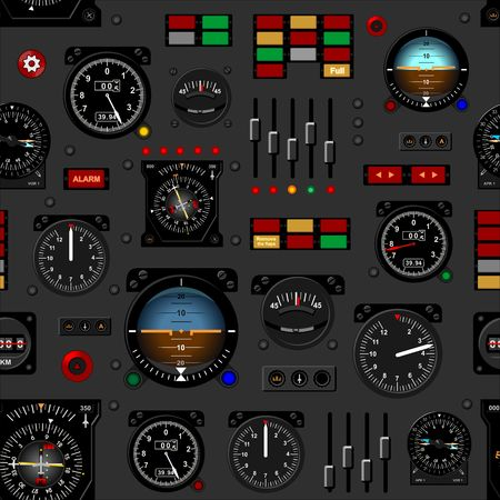 Airplane instrument panel. Aircraft dashboard. Creative seamless pattern, Realistic wallpaper. Vectores