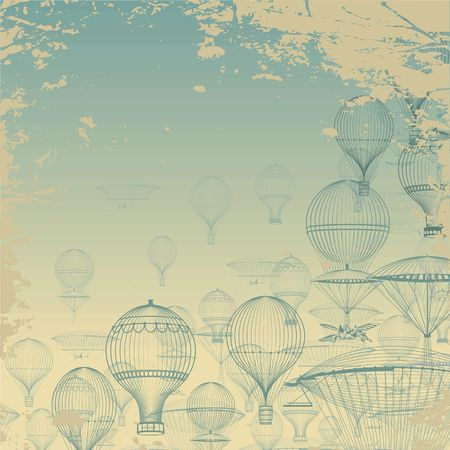 AERONAUTICA DE VUELO. Vintage globos de aire caliente flotando en el cielo. Patrón de grunge Monocromo en tonos de azul