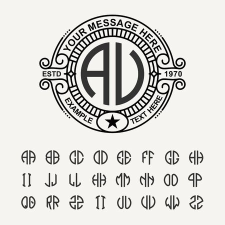 jewellery: Modern emblem, badge, template. Luxury elegant frame ornament line logo design vector illustration. And set to create monograms of two letters in scribed in a circle Illustration