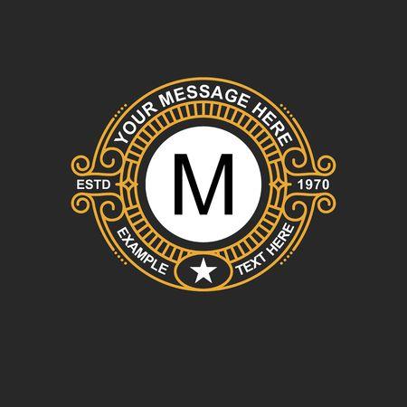 Modern emblem, badge, monogram template. Luxury elegant frame ornament line logo design vector illustration. Good for Royal sign, Restaurant, Boutique, Cafe, Hotel, Heraldic, Jewelry, Fashion