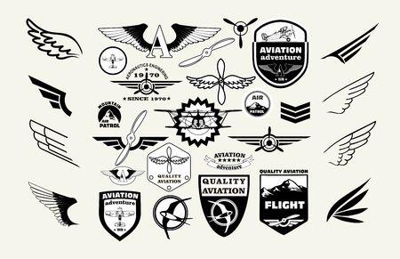 Monochrome Mega Set of retro emblems, design elements , badges and logo patches on the theme aviation Illustration