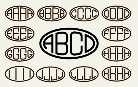 lineart: Set 1 of templates from of four capital letters inscribed in a oval. From wide lines of the same thickness. To create logos, emblems, monograms. Lineart style