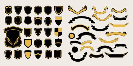 Mega a set of templates. Chevrons and ribbons for the design of logos, emblems and labels Illustration