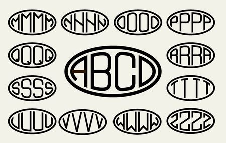 lineart: Set 2 of templates from of four capital letters inscribed in a oval. From wide lines of the same thickness. To create logos, emblems, monograms. Lineart style Illustration