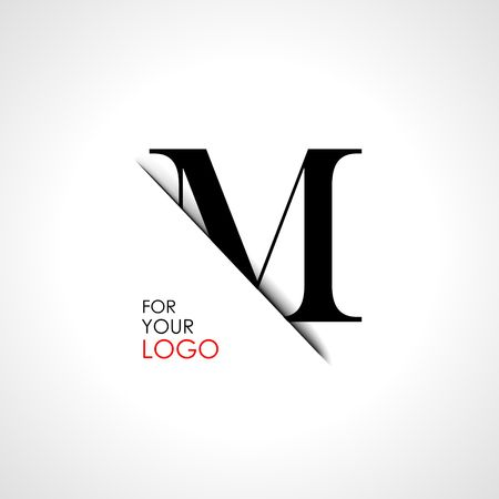 Capital m letter is inserted in the paper slot. To create logos, emblems, monograms. Illustration