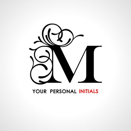 Capital letter M . Decorated with vegetable ornament. Template for your logo, emblems, monograms, initials. Logo