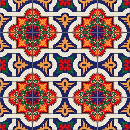 Magnifique modèle sans couture blanc marocain coloré, carreaux portugais, Azulejo, ornements.