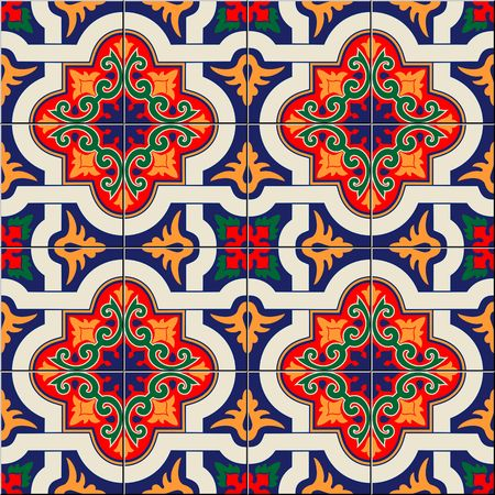 Gorgeous seamless pattern white colorful Moroccan, Portuguese tiles, Azulejo, ornaments.