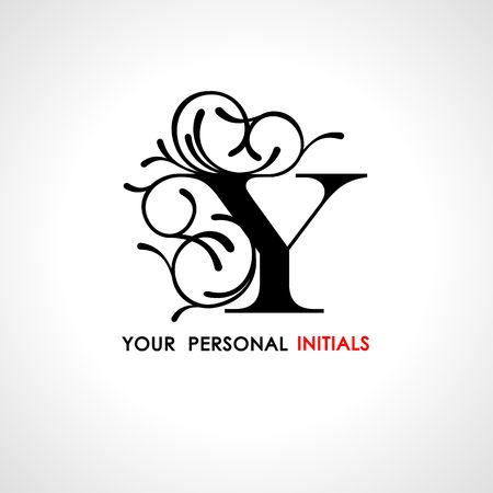 Capital letter Y. Decorated with vegetable ornament. Template for your logo, emblems, monograms, initials