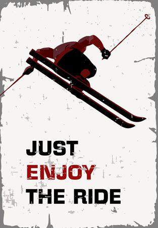 Affiche rétro sur le ski. Vecteurs