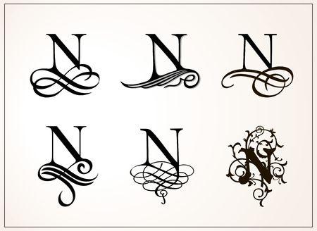 大文字 N のビンテージ セット