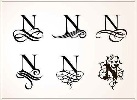 Vintage Set of Capital Letter N Stock Vector - 90880145