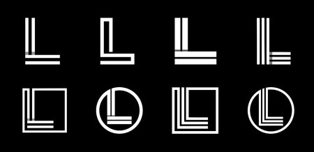 Capital letter L. Modern set for monograms, logos, emblems, initials. Made of white stripes Overlapping with shadows.