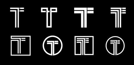 Lettre majuscule T. Ensemble moderne pour monogrammes, logos, emblèmes, initiales. Fait de rayures blanches se chevauchant avec des ombres.