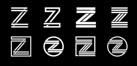 Capital letter Z. Modern set for monograms, logos, emblems, initials. Made of white stripes Overlapping with shadows.