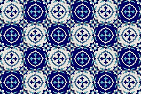 Gorgeous seamless pattern from dark blue and white Moroccan, Portuguese tiles, Azulejo, ornaments. Can be used for wallpaper, pattern fills, web page background,surface textures. Banque d'images