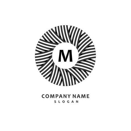 Round stripe wreath. Stylish and graceful monogram design , Elegant line art logo design, vector template