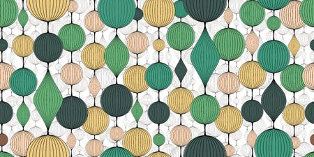 Seamless abstract wallpaper, pattern. Colorful garlands of bulk balls