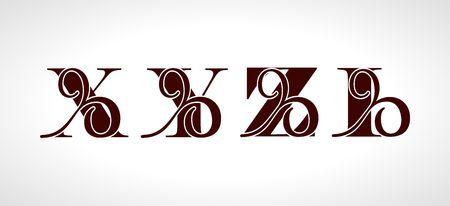 Lettres majuscules décoratives X, Y, Z, I pour votre monogramme, logo, emblème. Bel alphabet avec des ornements floraux Logo
