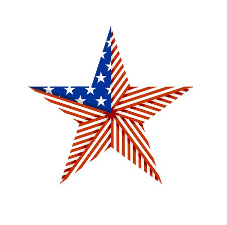 American star folded from the American flag. Beautiful trendy symbol for illustrations.