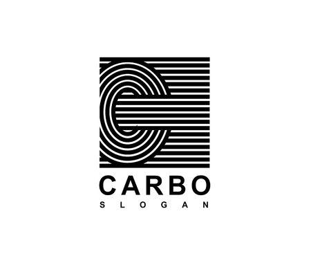 La letra mayúscula C está inscrita en un cuadrado. Plantilla moderna para monogramas, logotipos, emblemas, iniciales. Hecho de rayas negras superpuestas con sombras. Logos