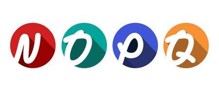 Creative capital letters N, O, P, Q inscribed in a circle with falling shadows. For your monogram, logo, emblem. Flat design. Four color palettes Çizim