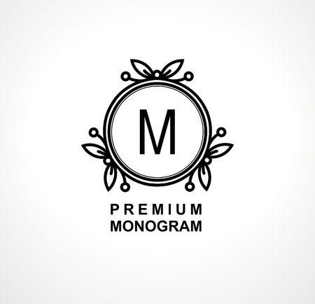 Premium monogram template for your emblems, logos, chevrons, labels. Floral ornament. Fancy wreath. Leaf vector frame.