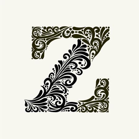 Élégante lettre majuscule Z dans le style baroque.